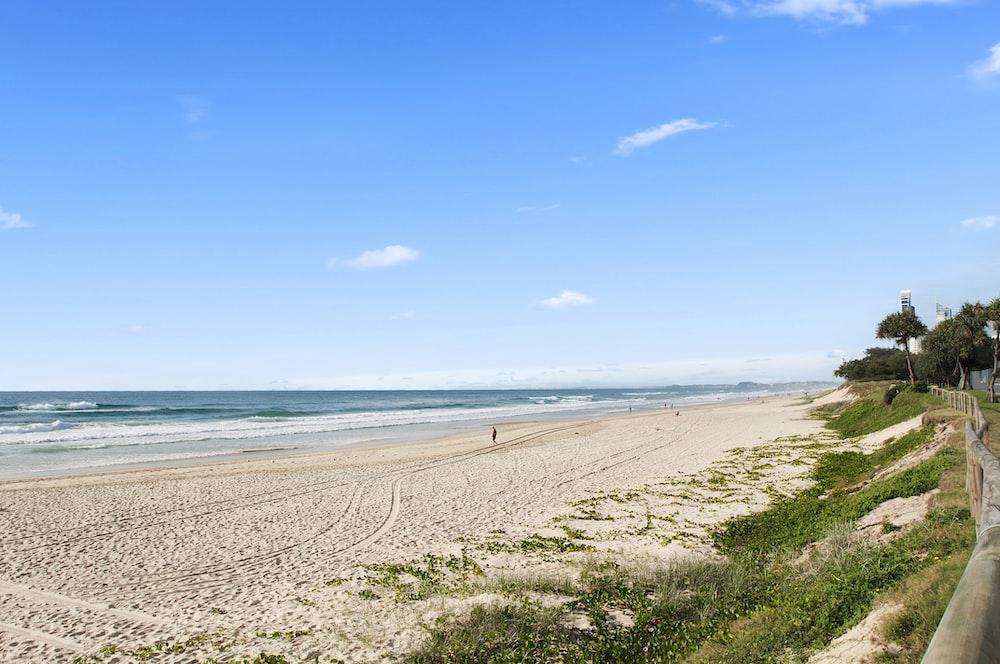 person walking on the seashore