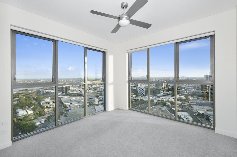 ceiling fan near windows