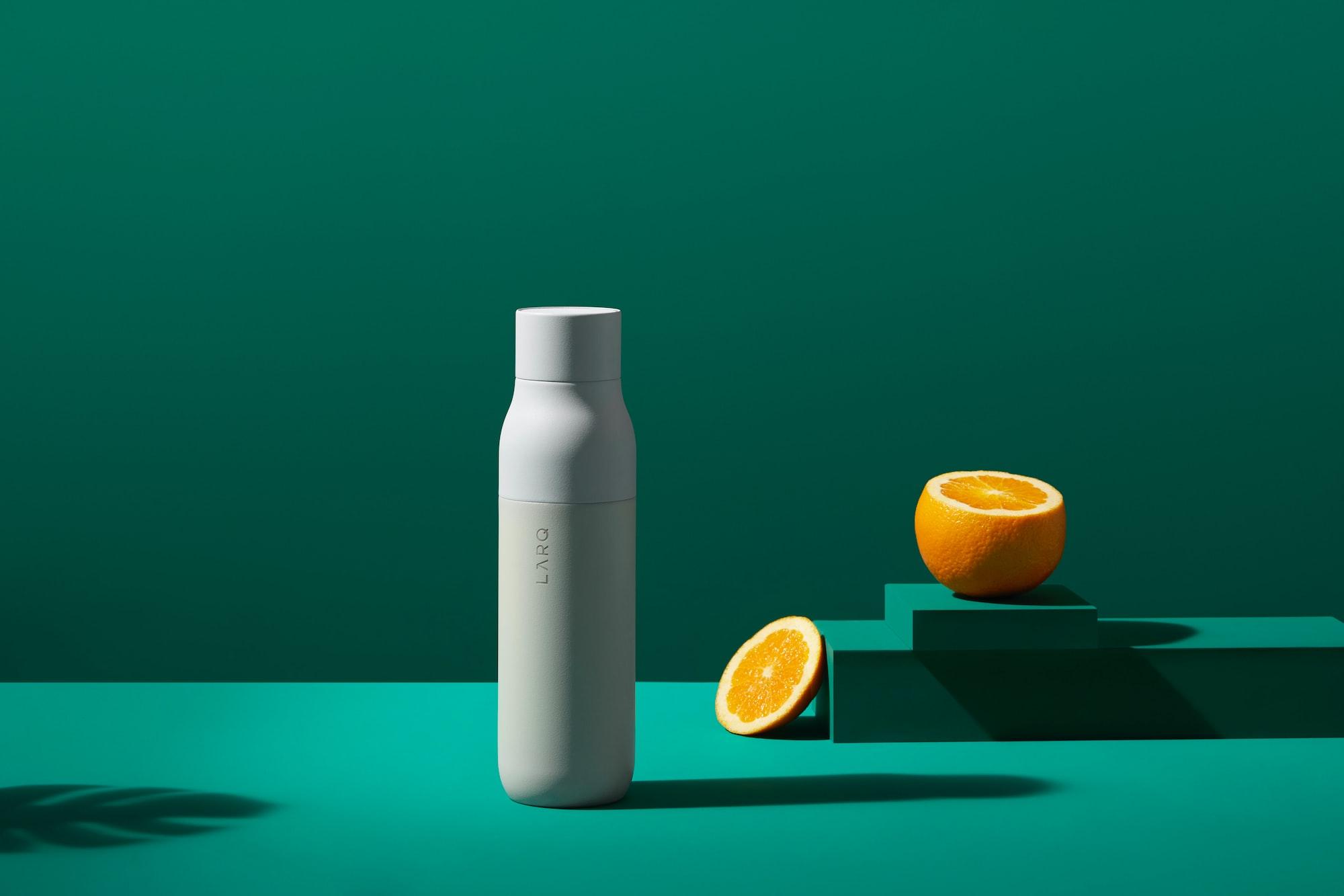 LARQ self-cleaning water bottle in Granite White // www.livelarq.com