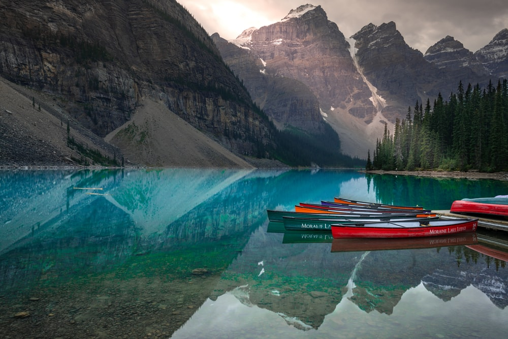 multicolored canoes moored in dock in lake