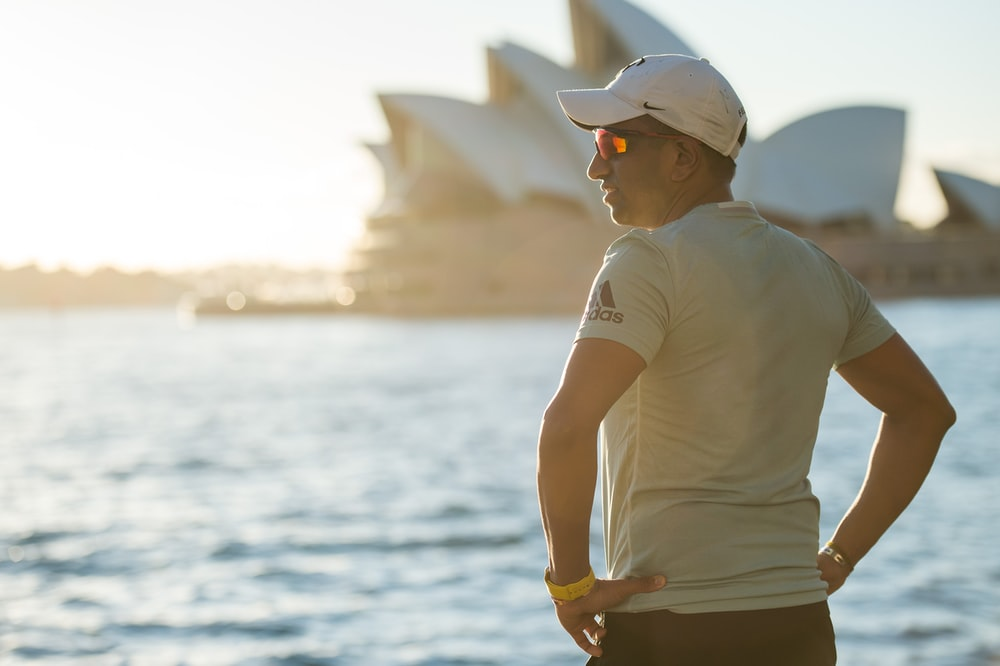 man near Sydney Opera House