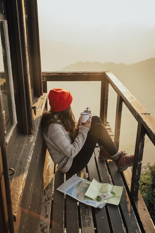 woman sitting in terrace