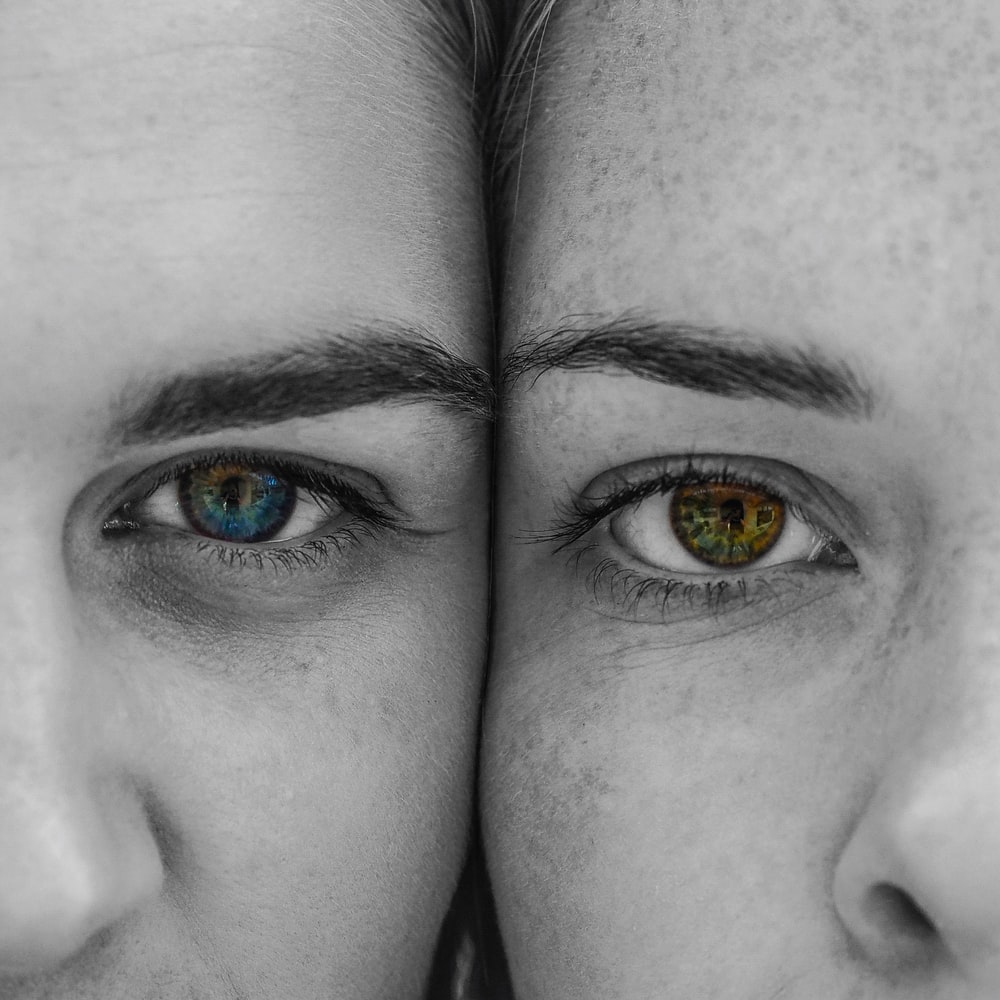 two people's eye close-up photography