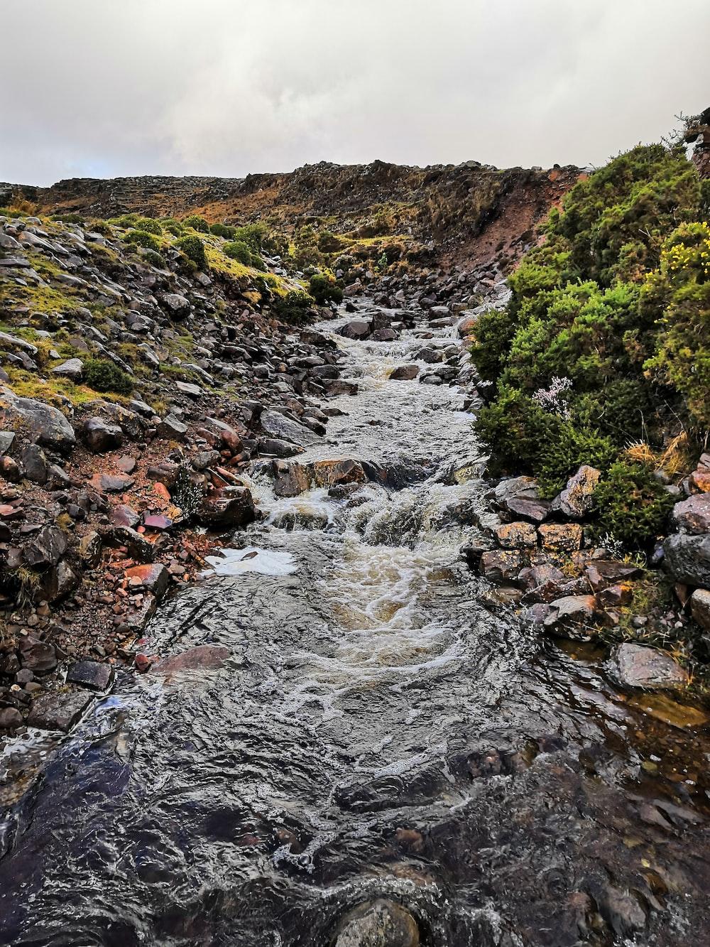 river between cliff
