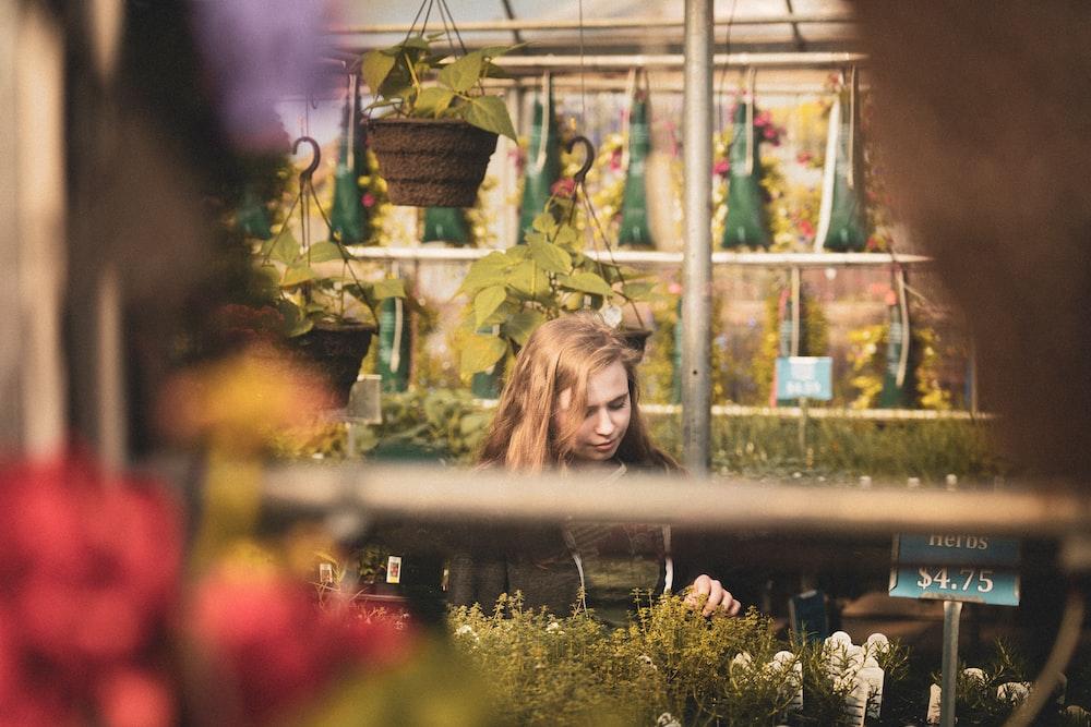 woman near flowers
