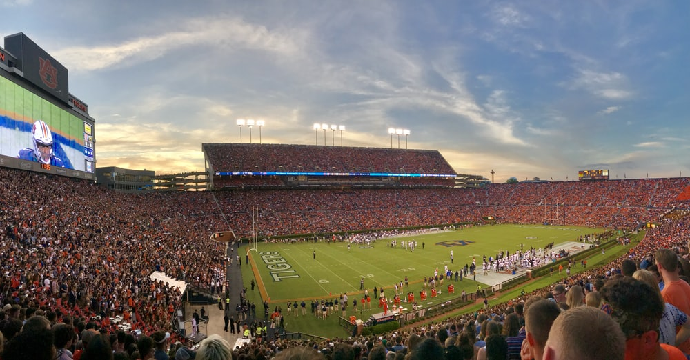 American football stadium under clear blue sky
