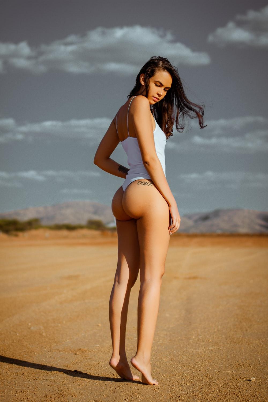 woman wearing white monokini