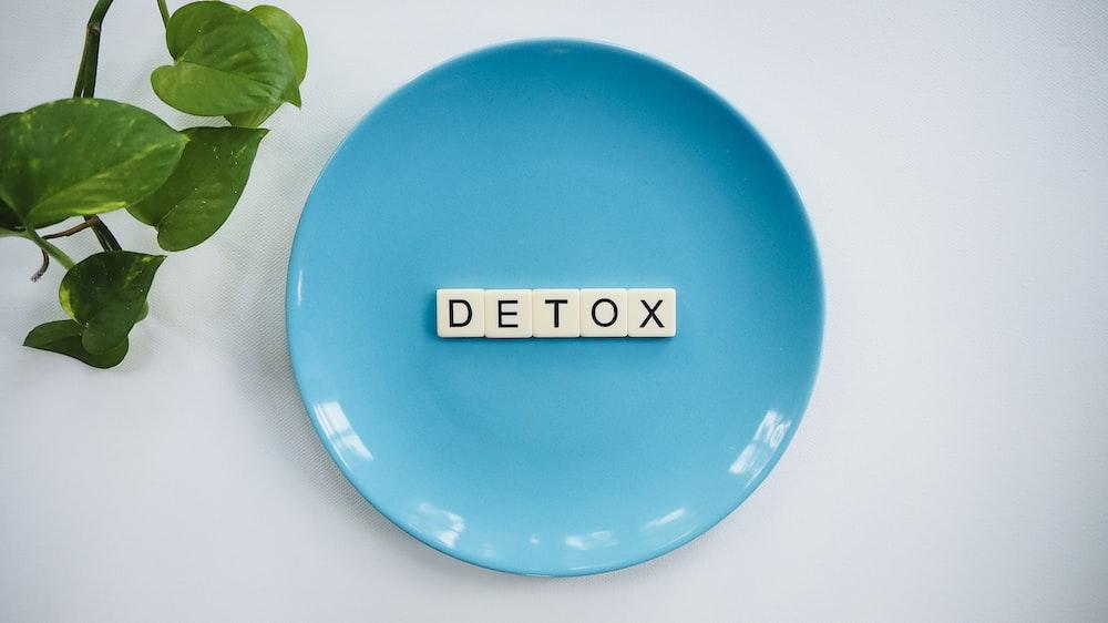 detox tiles on teal ceramic plate
