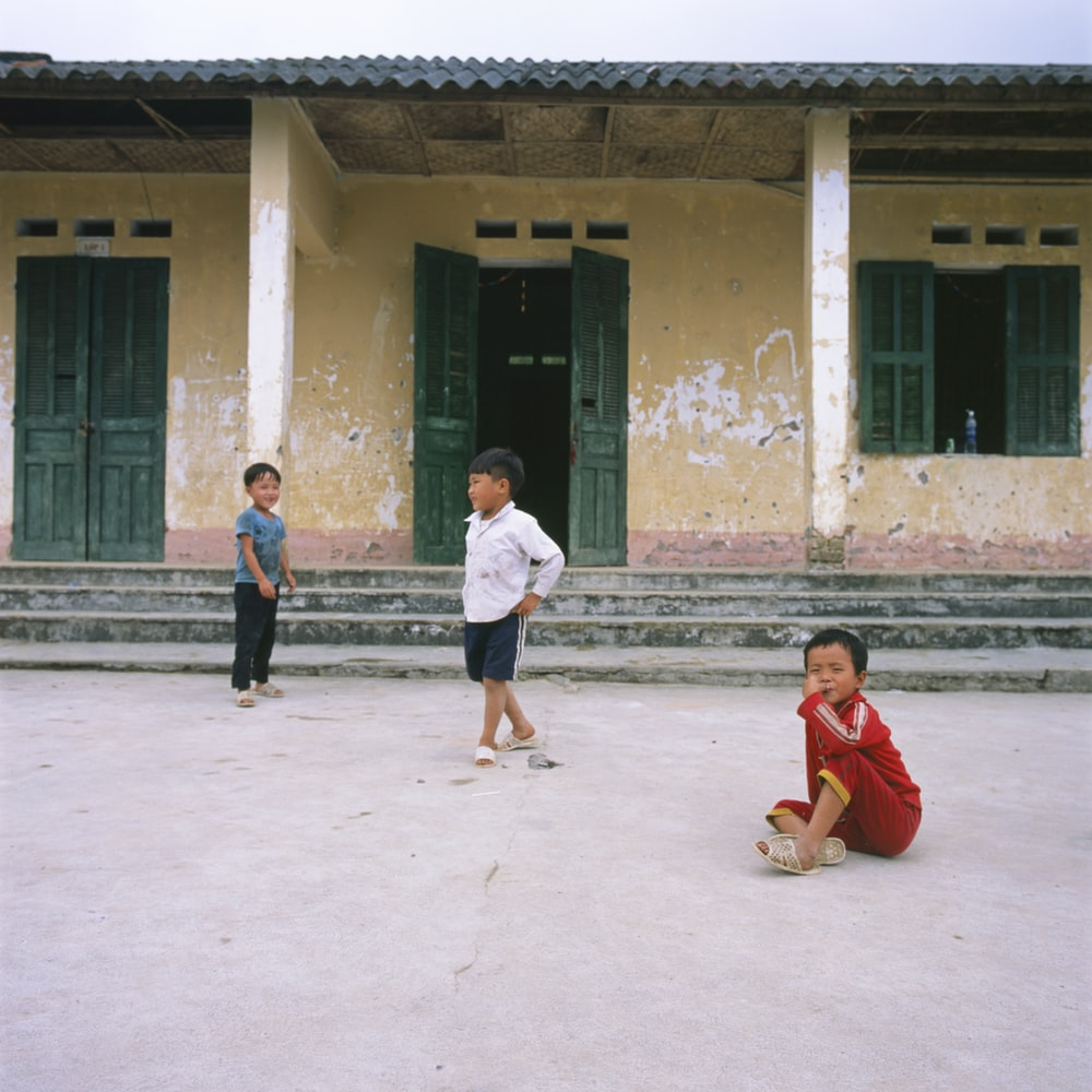 boy's playing outdoor