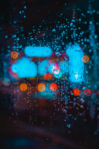 rain splattered glass window