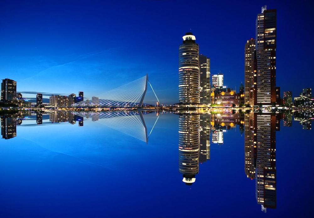 city building mirror landscape photo