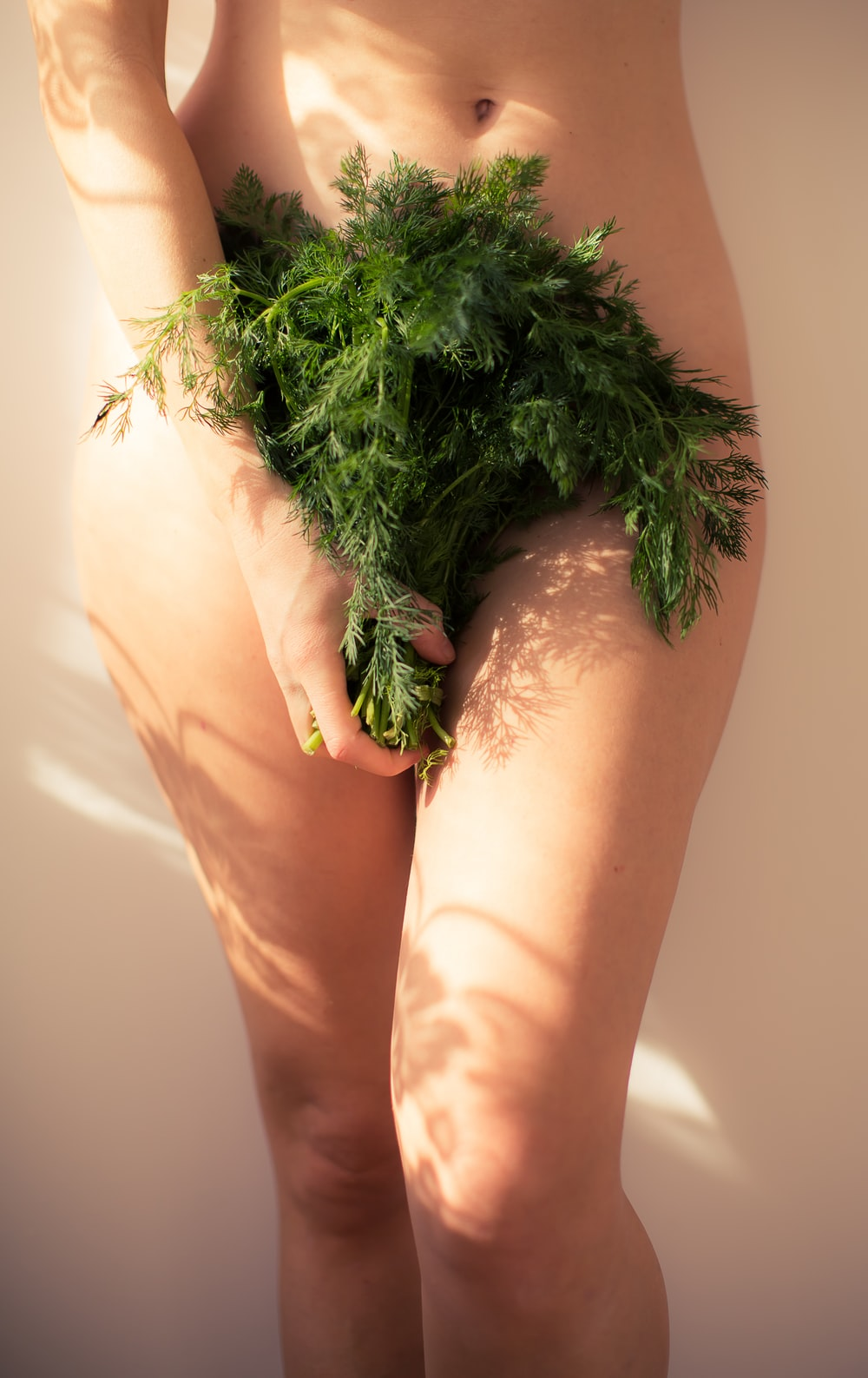 A woman covering her genitals with green leafy plants.
