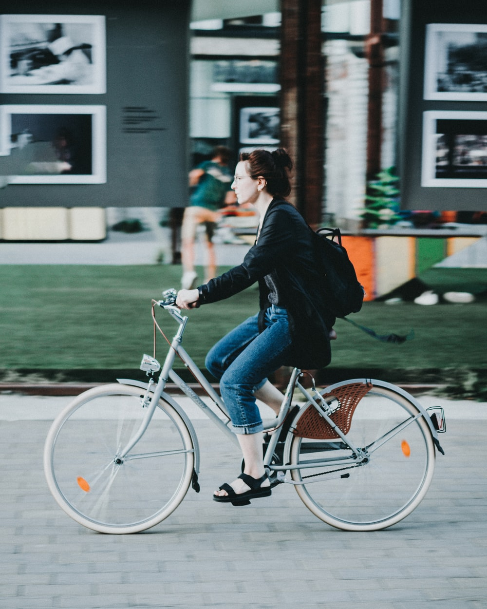 woman riding on bicycle