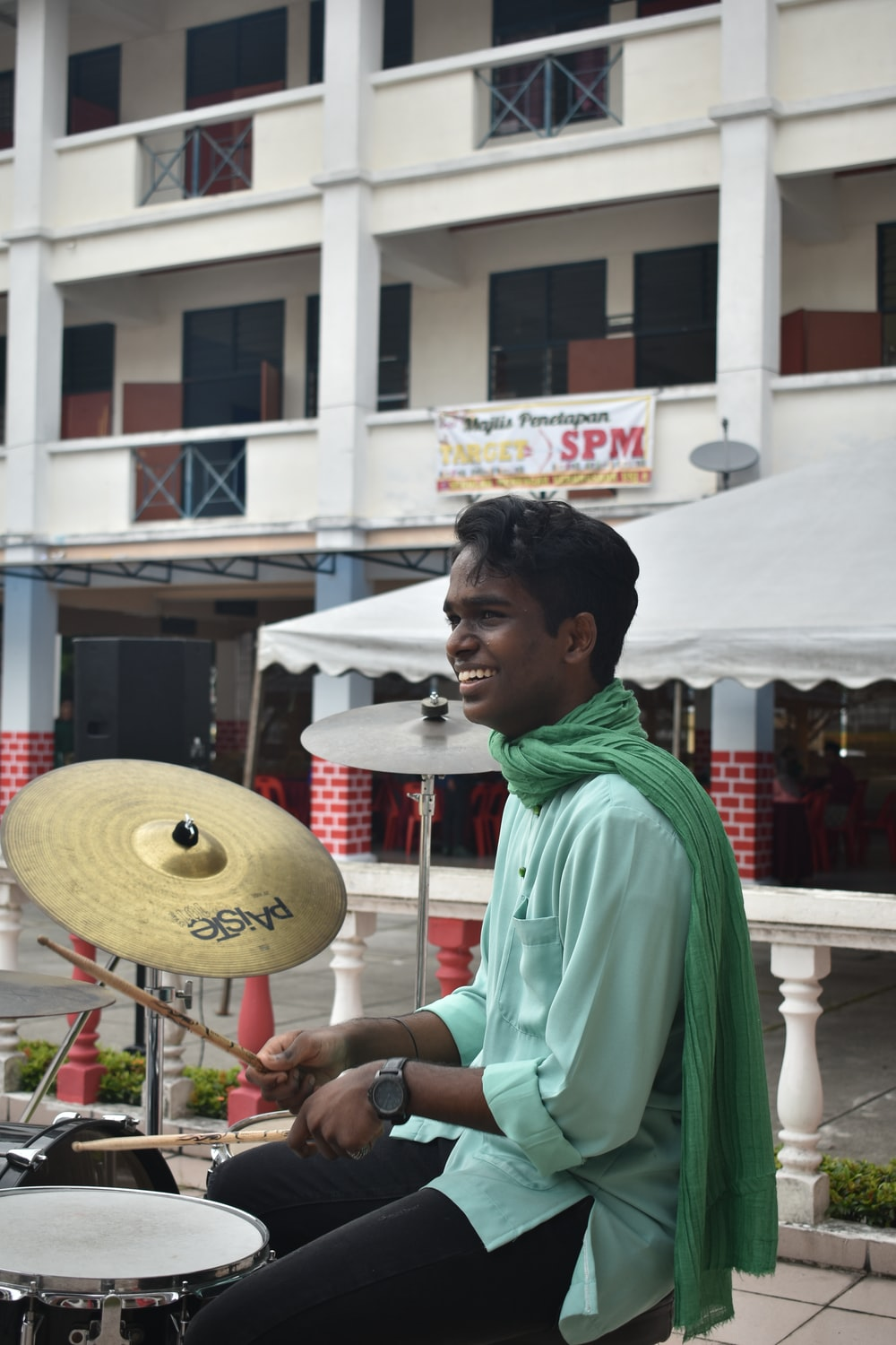 man playing drums