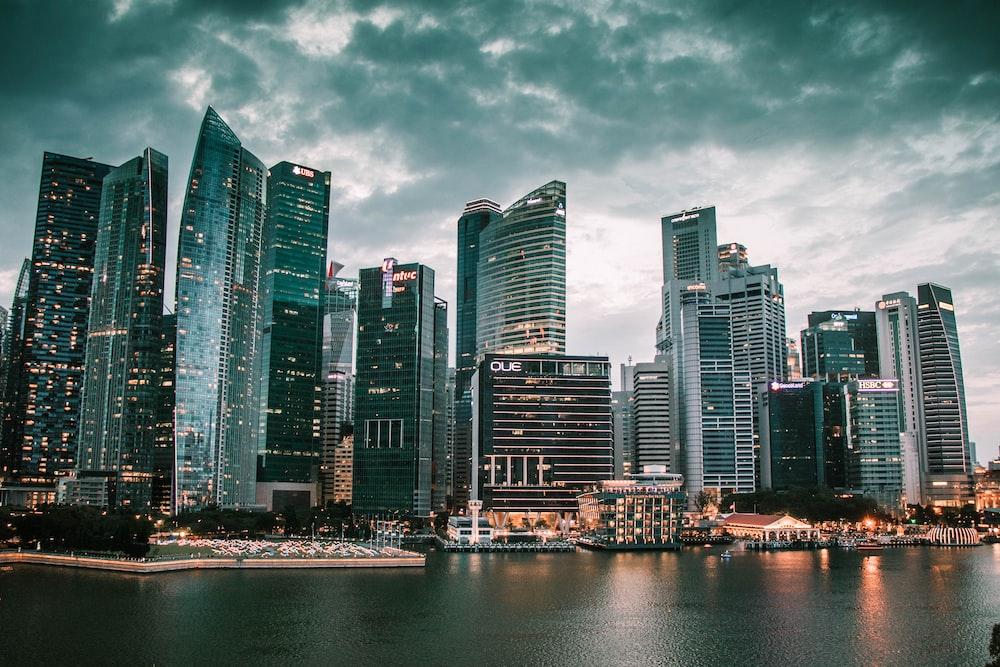 high rise buildings near water