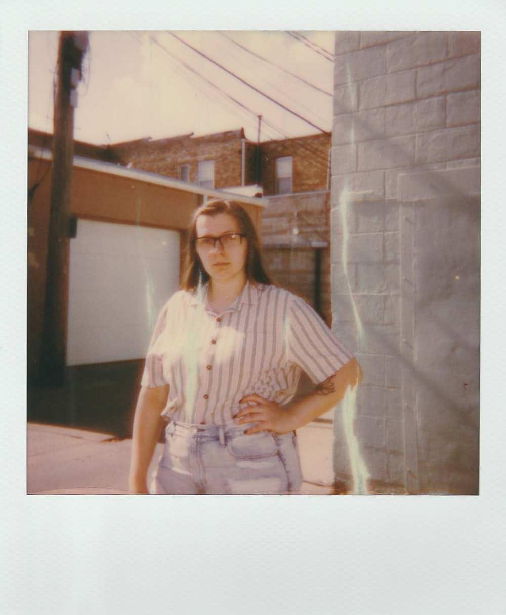 woman wearing striped button-up shirt