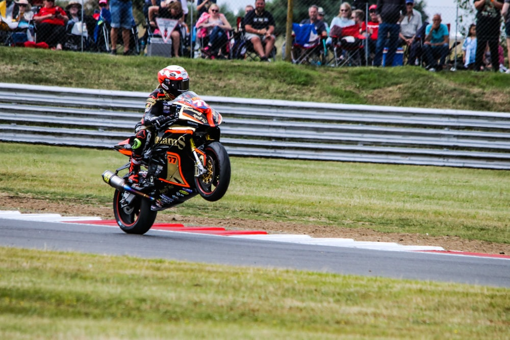 motorcycle racer on field
