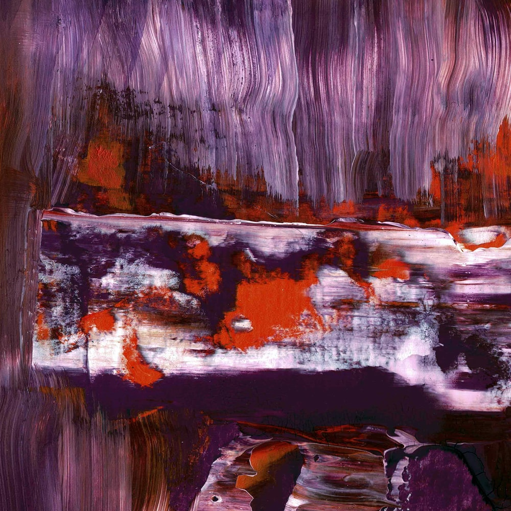 purple, red, and white abstract painting
