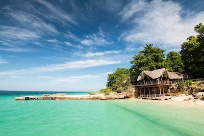 brown wooden house near beach cuba teams background