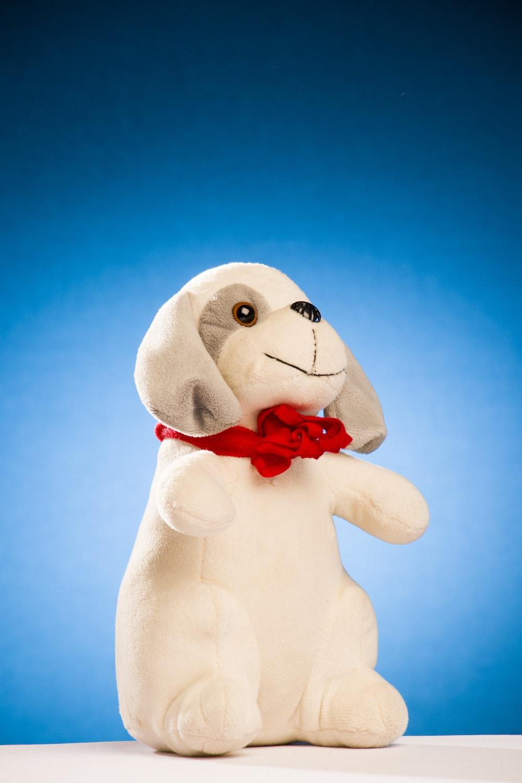white dog plush toy