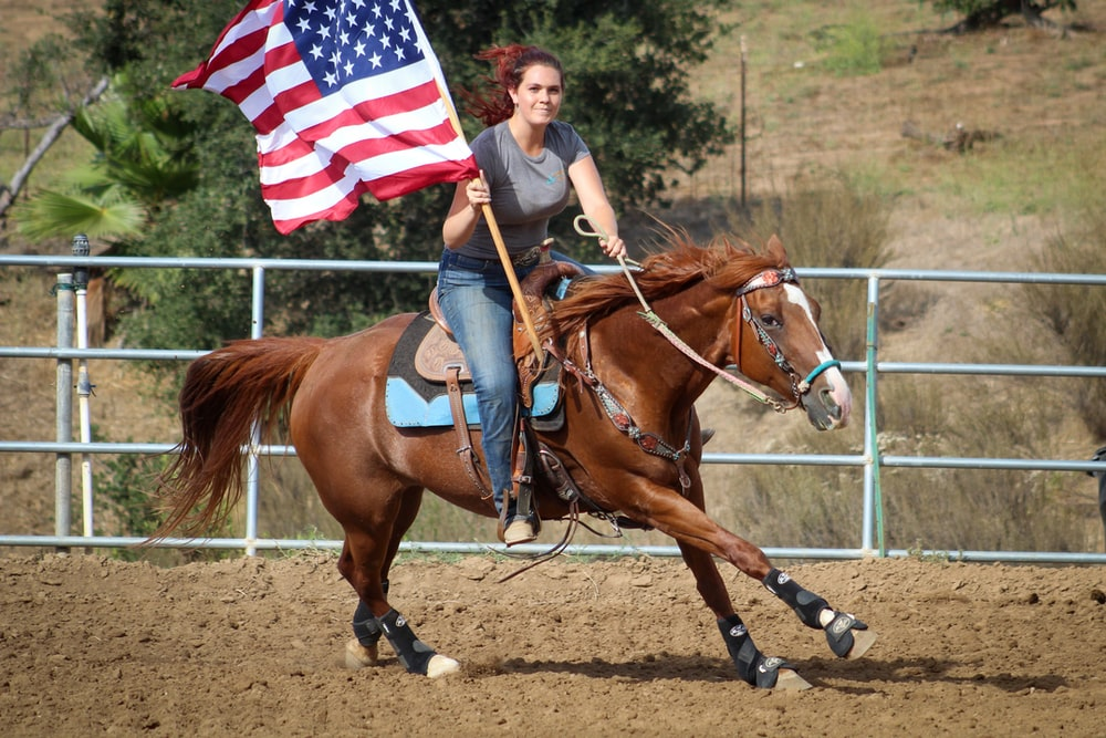 woman holding US flag riding brown horse during daytime