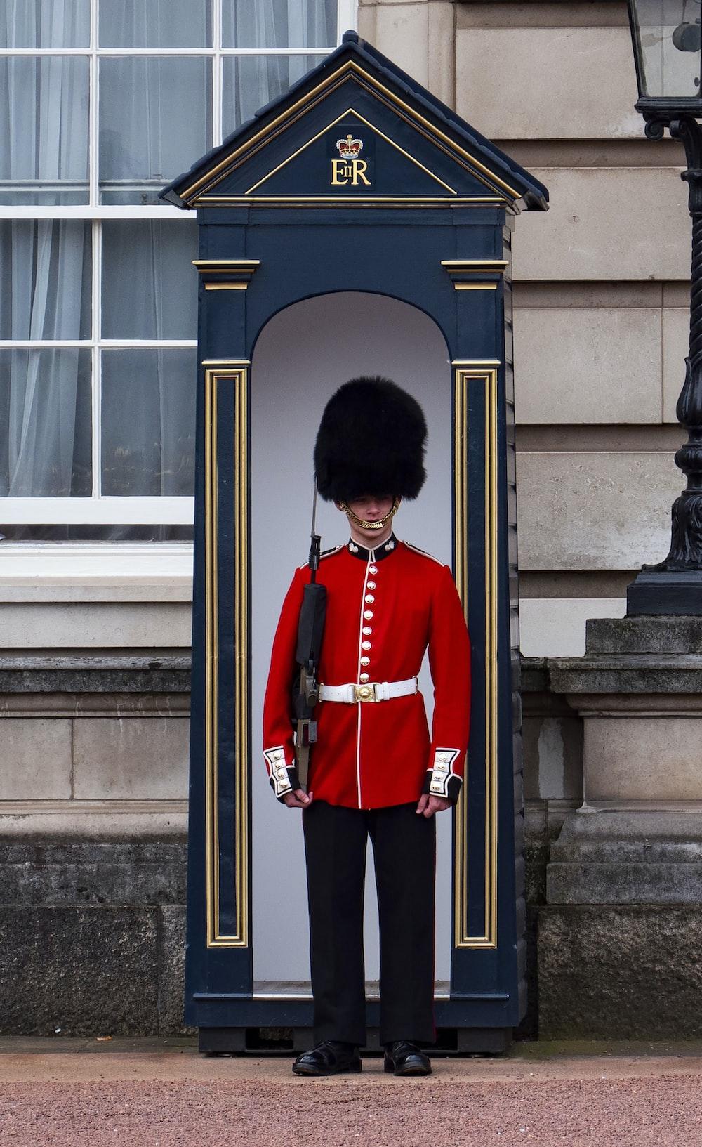 Royal Guard standing near post