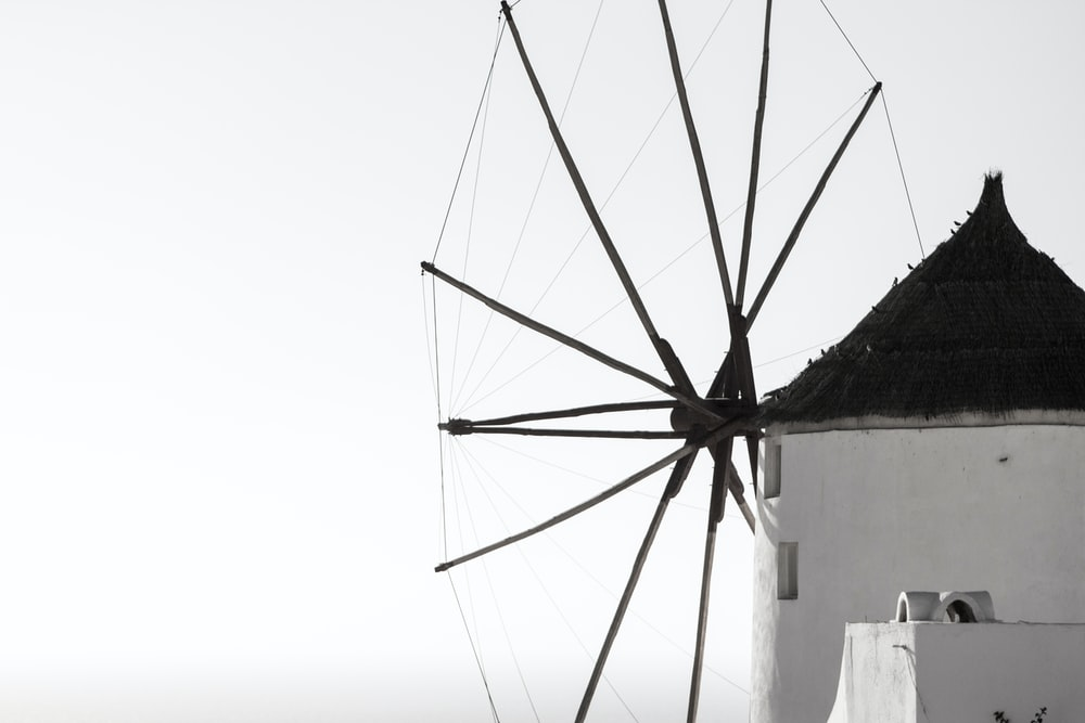 black and white wind mill