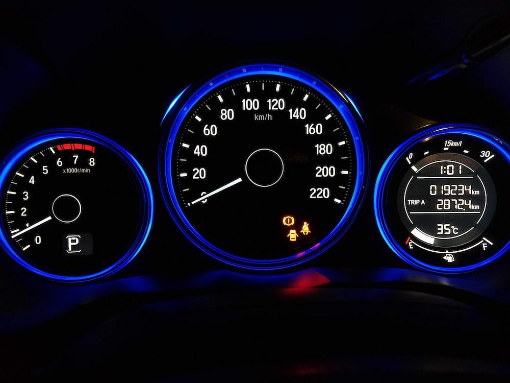 black and blue dashboard