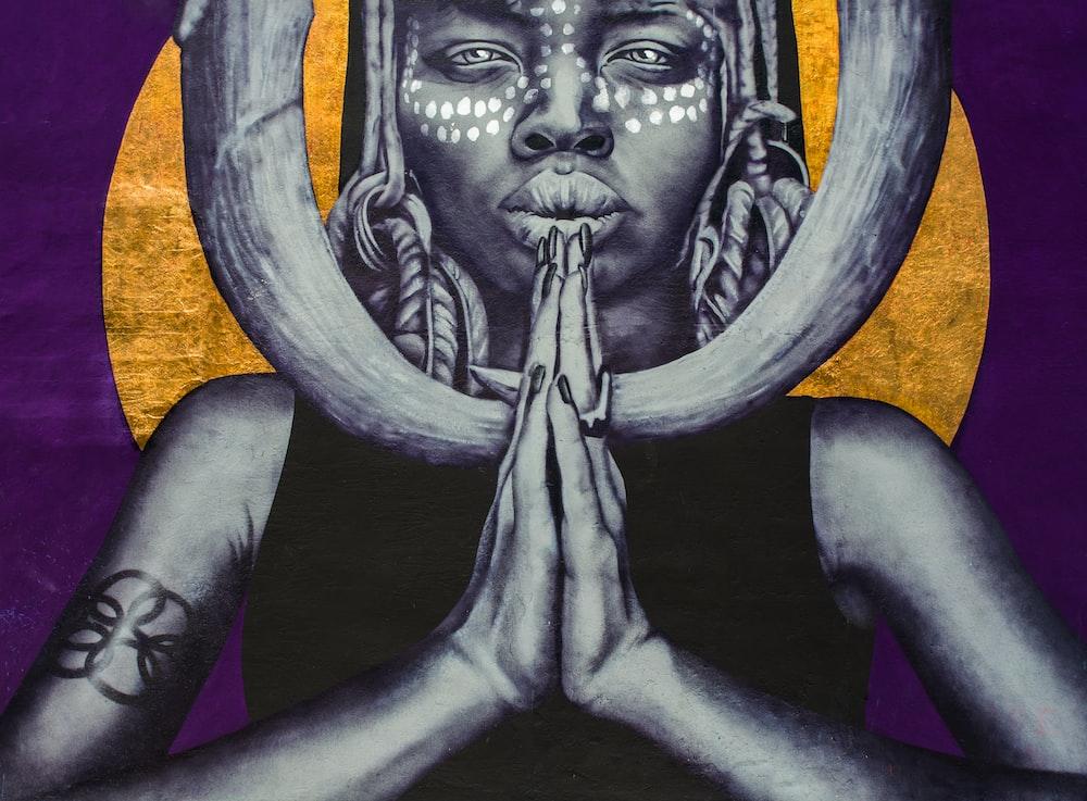 woman praying illustration