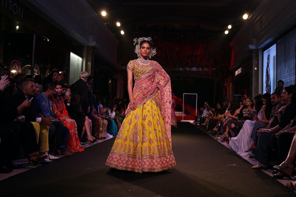 woman walking on fashion show