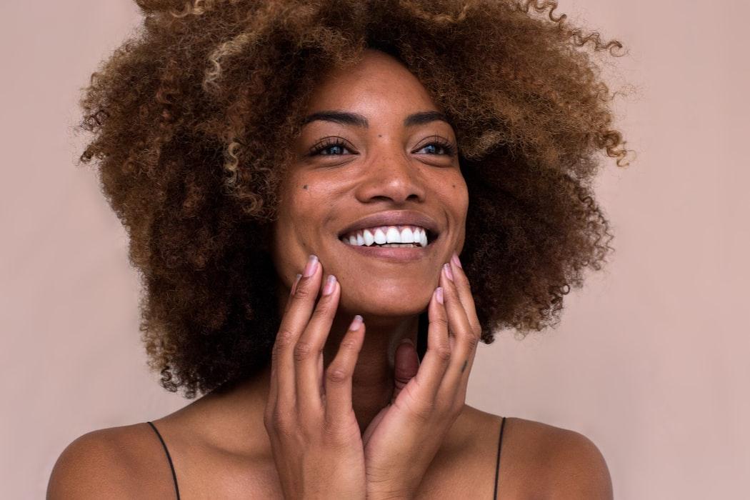 Face wash girl smiling