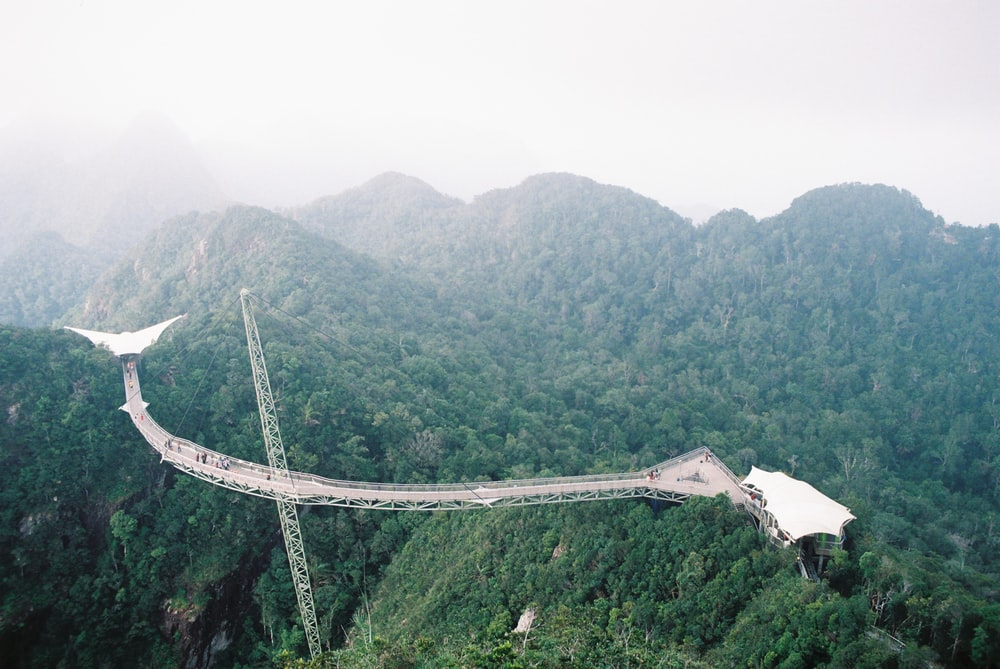aerial photography of a bridge over the mountain