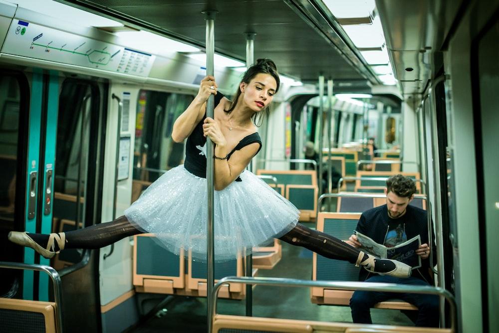 woman inside train