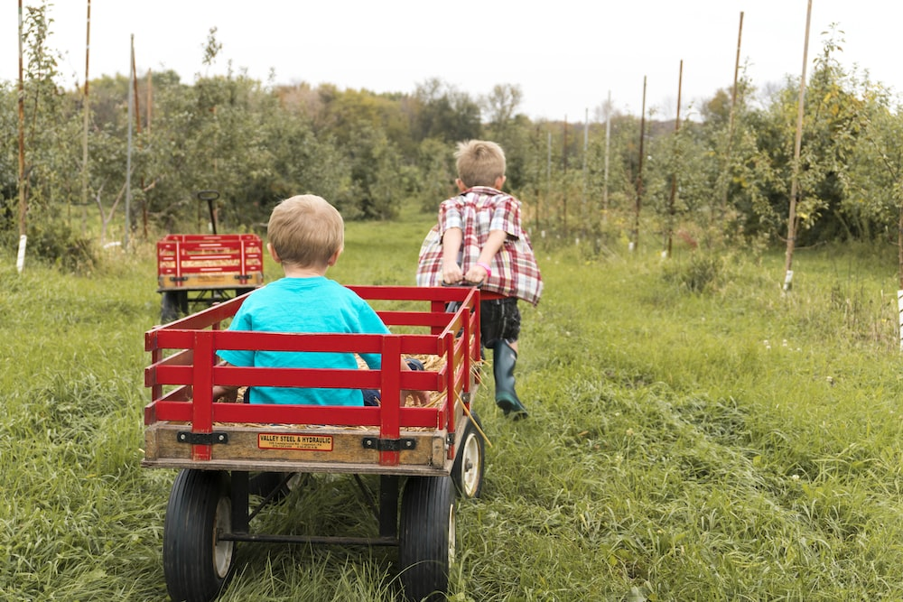 boy riding on a wagon being pulled by another boy