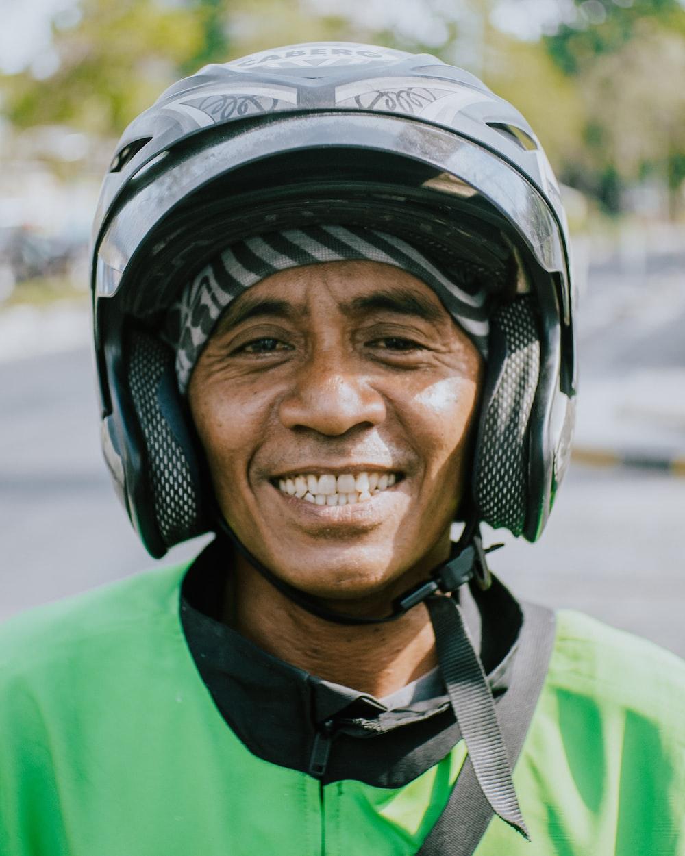 man wearing helmet