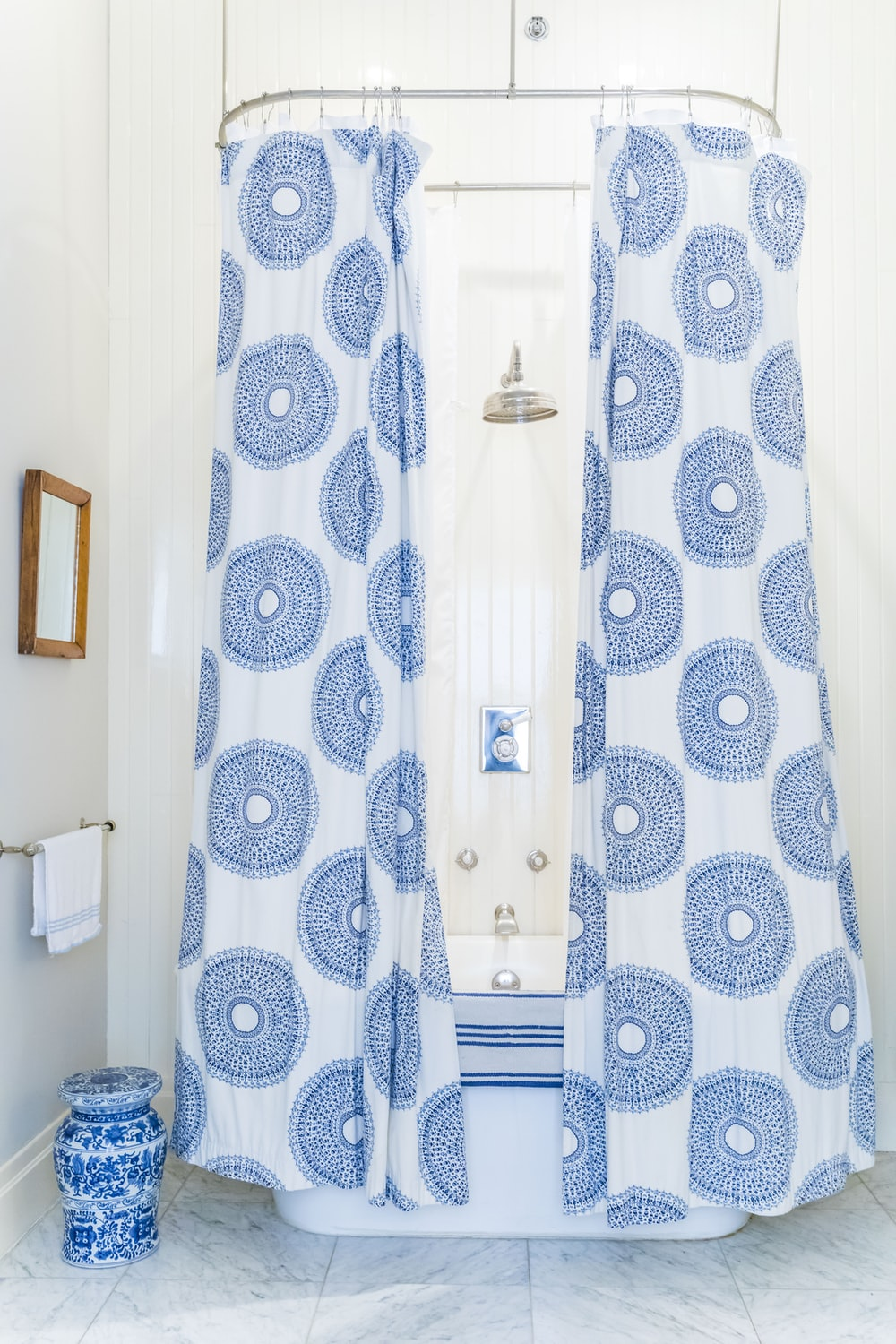 white and blue shower curtain