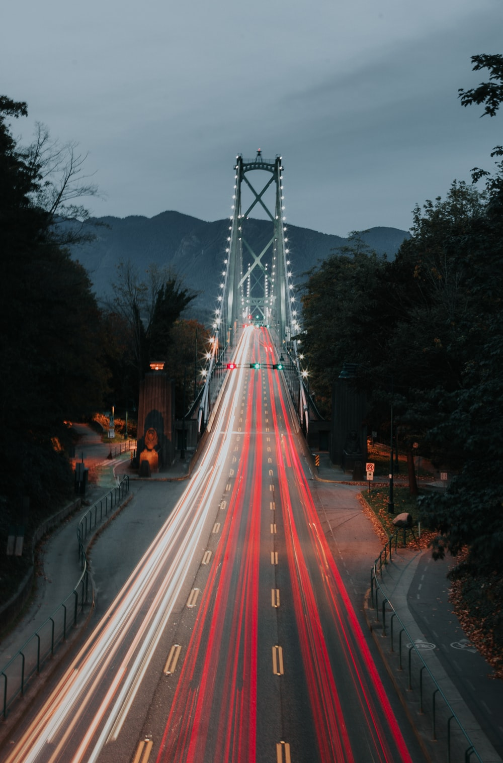 bridge at nighttime long exposure photography