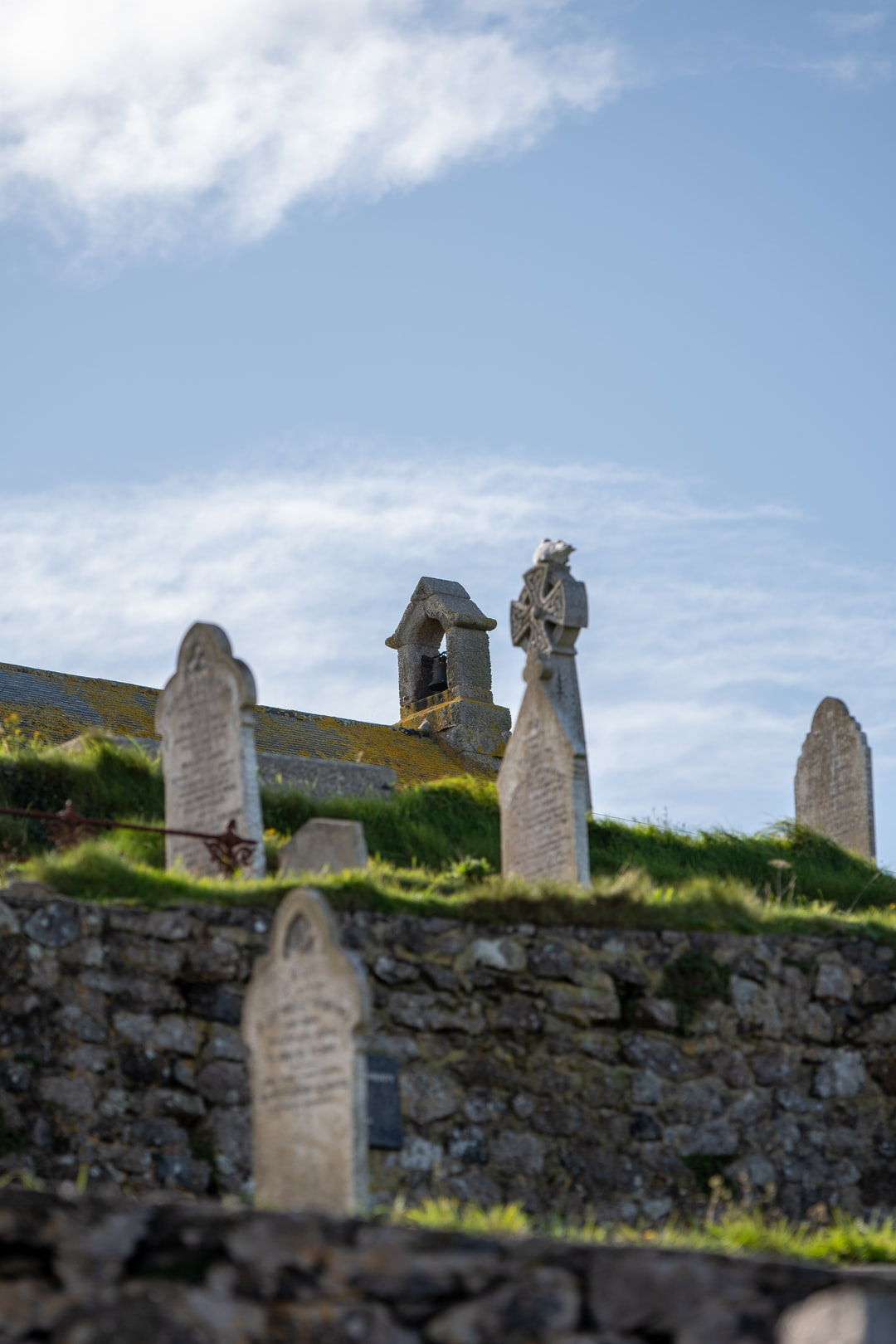 Looking up to Church in St Ives.