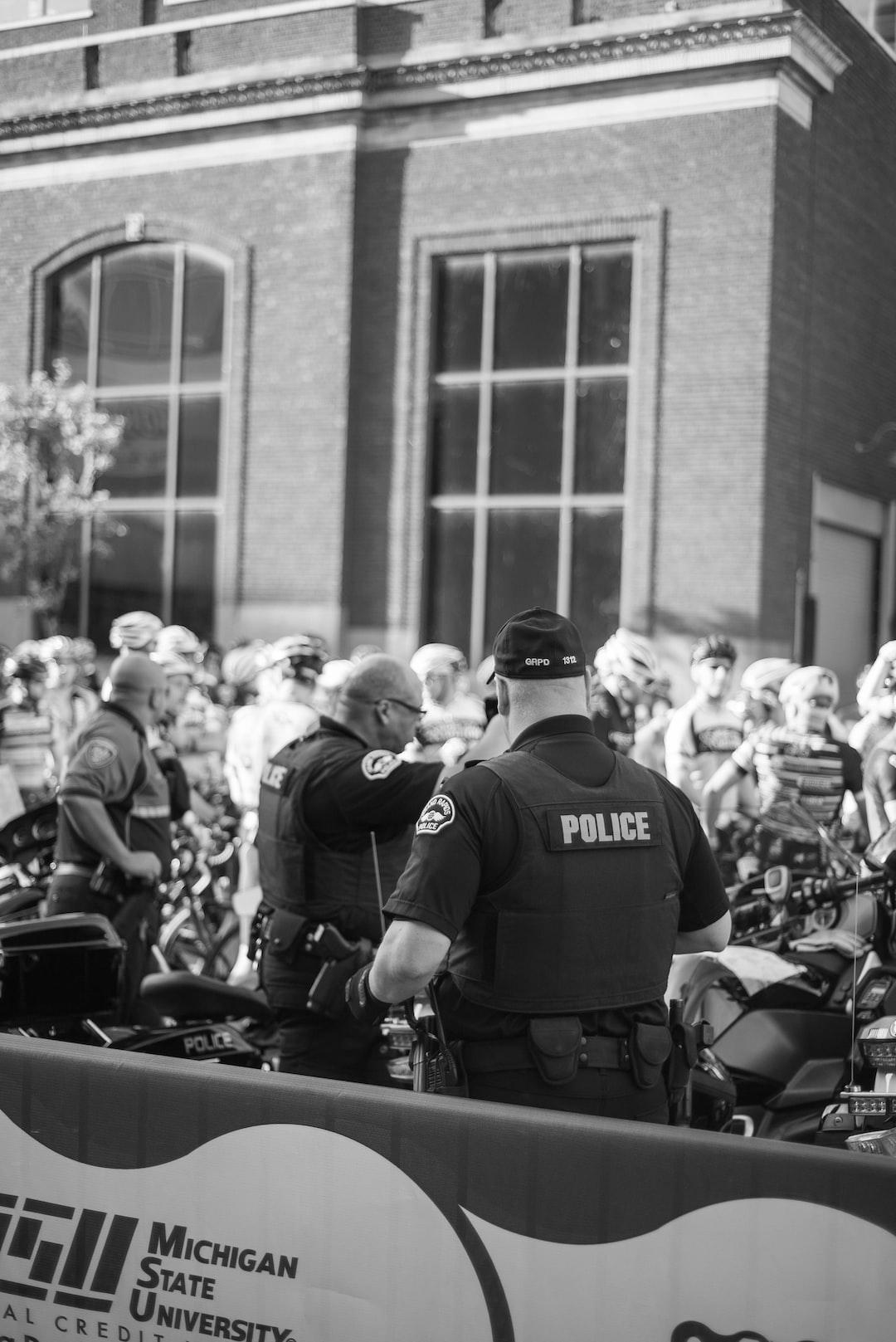 Road bike racers. Grand Rapids, MI in black and white