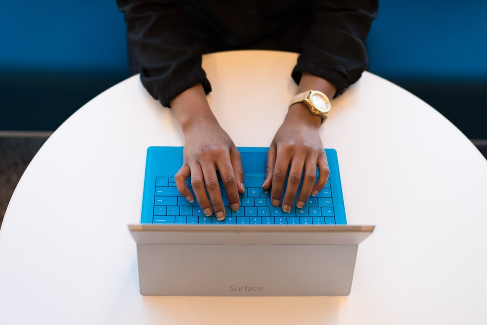 person using Microsoft Surface