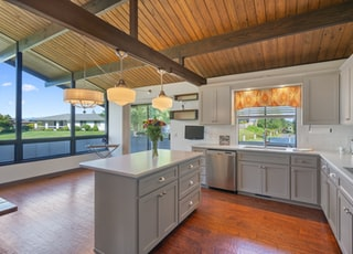 grey modular kitchen