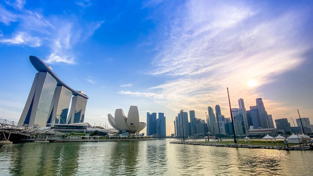 city of Singapore under cloudy sky
