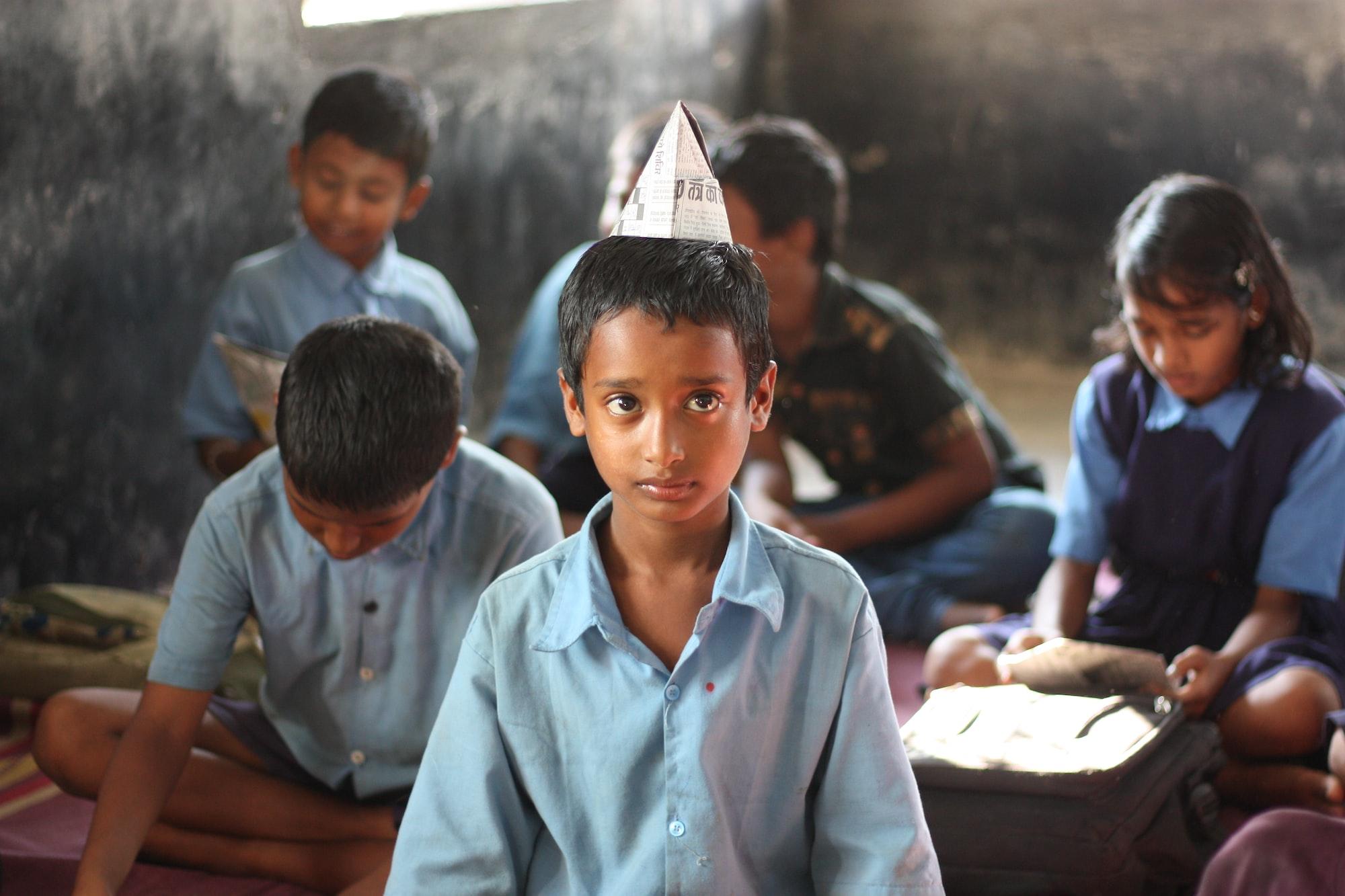 Serious Indian School Kid