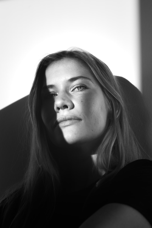 greyscale photography of woman