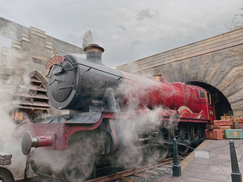 red and black charcoal train