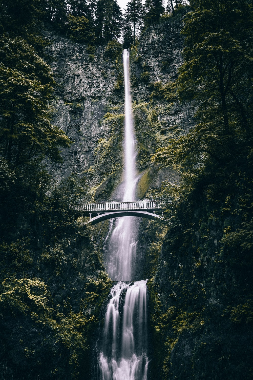 long-exposure photography of waterfalls