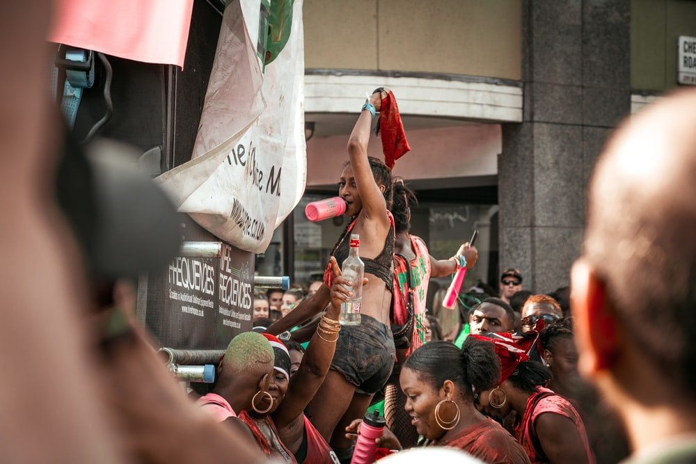 women protesting on street