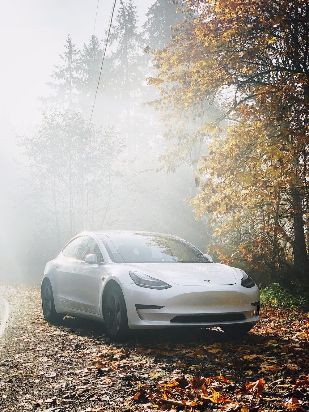 shallow focus photo of white sedan