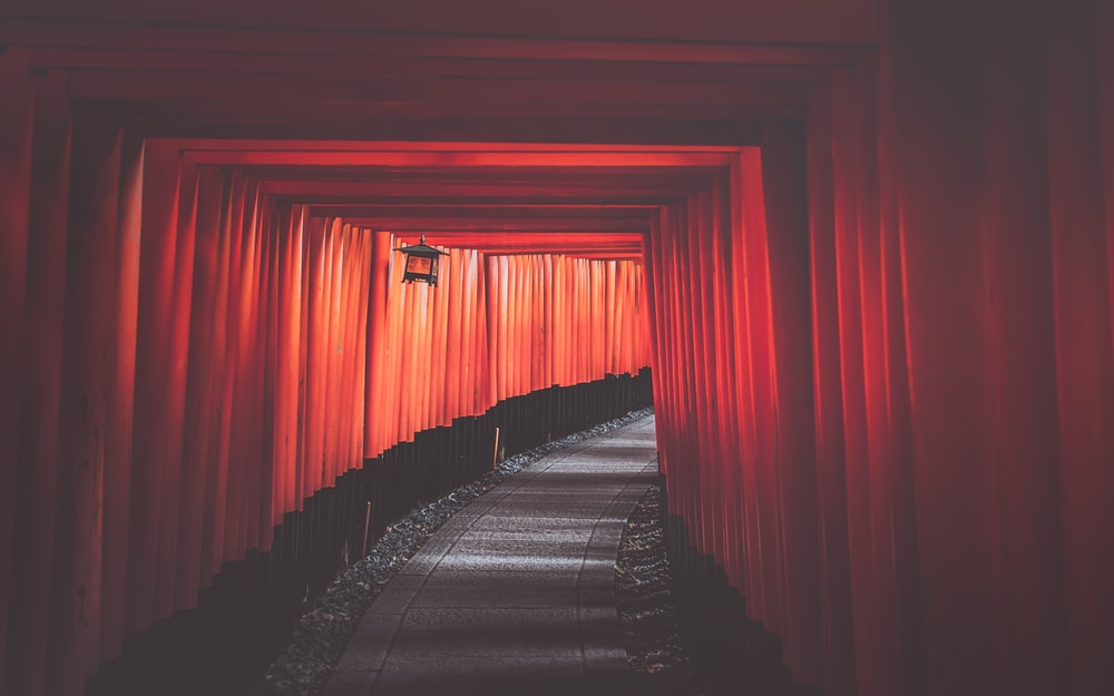 gray and red tunnel