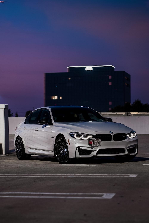 white BMW sedan